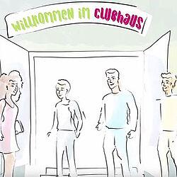 Zeichnung: Vier Menschen stehen vor einer geöffneten Tür. Über der Tür steht: Willkommen im Clubhaus